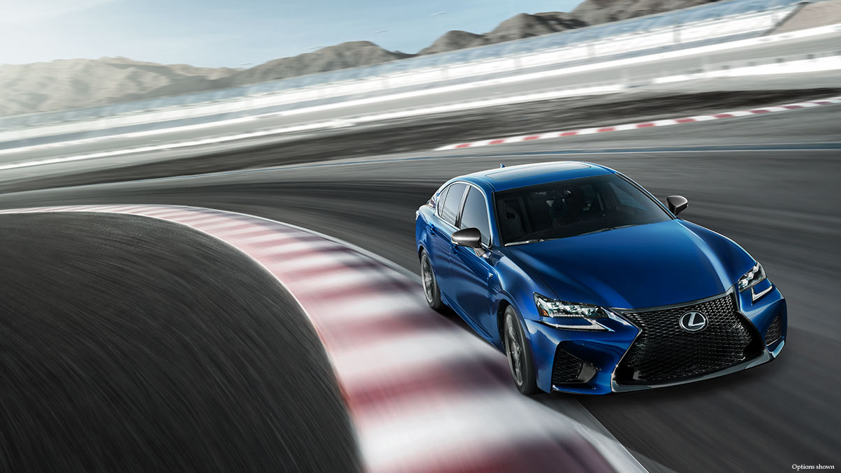 Exterior shot of the 2018 Lexus GS F shown in Ultrasonic Blue Mica 2.0.