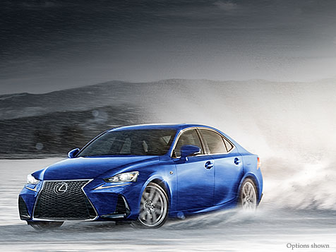 Exterior shot of the 2018 Lexus IS F SPORT shown in Ultrasonic Blue Mica 2.0.