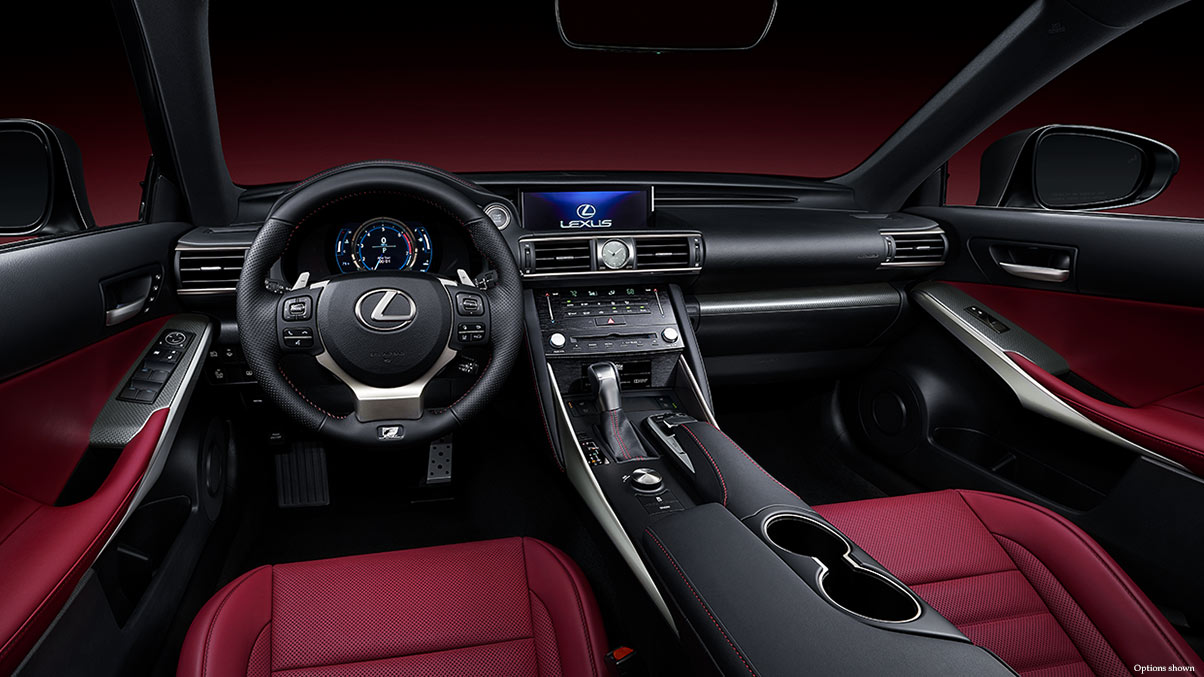 Interior shot of the 2018 Lexus IS shown with Rioja Red NuLuxe trim.