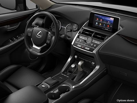 Interior shot of the 2018 Lexus NX shown with Black NuLuxe trim