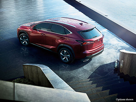 Exterior shot of the 2018 Lexus NX shown in Matador Red Mica