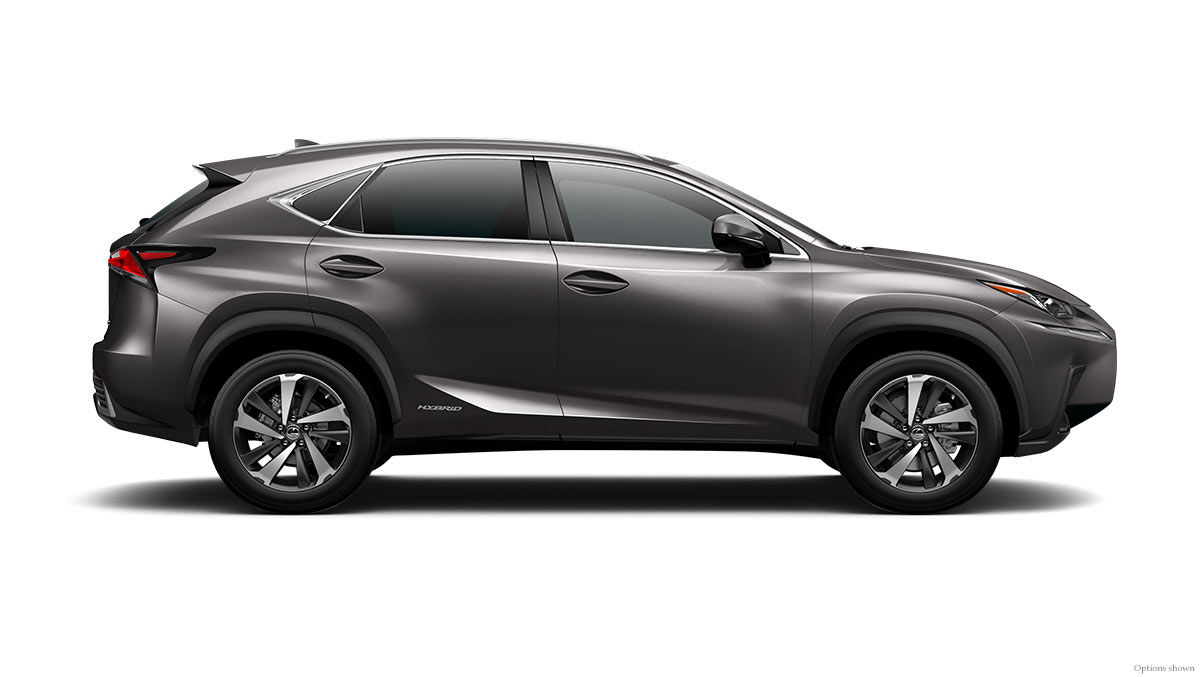 Exterior shot of the 2018 Lexus NX Hybrid shown in Nebula Gray Pearl