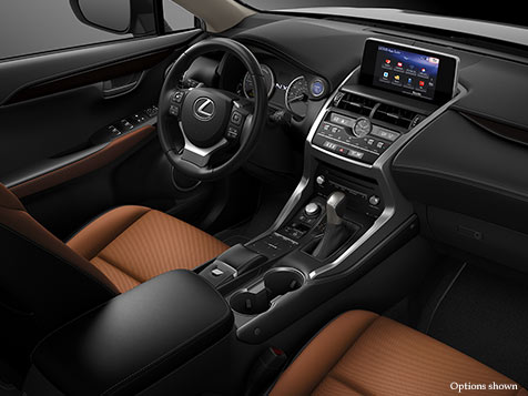 Interior shot of the 2018 Lexus NX Hybrid shown with Glazed Caramel NuLuxe trim