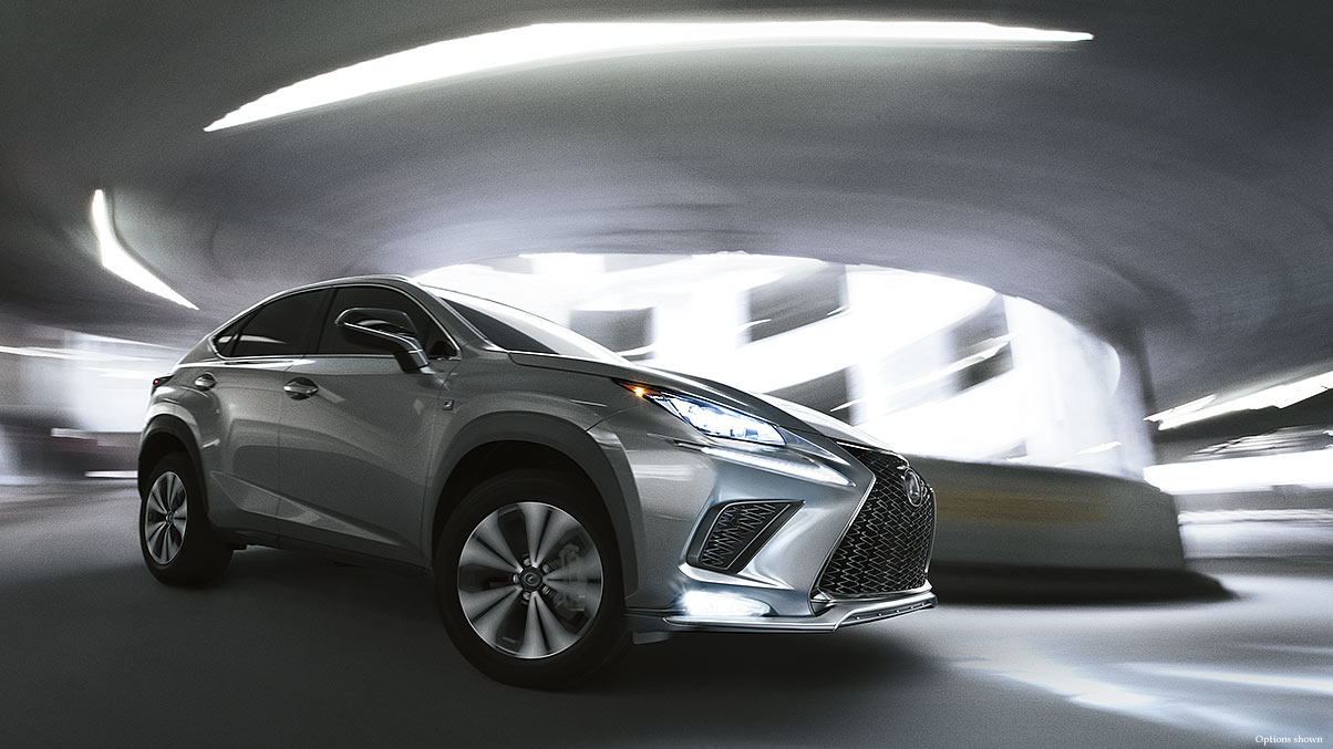 Exterior shot of the 2018 Lexus NX F SPORT shown in Atomic Silver