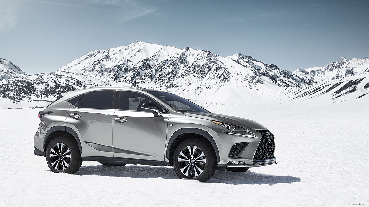 Exterior shot of the 2018 Lexus NX F SPORT shown in Atomic Silver.