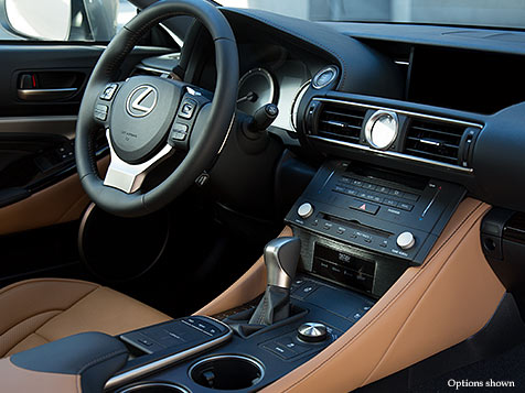 Interior shot of the 2018 Lexus RC 350 shown with Flaxen leather interior trim