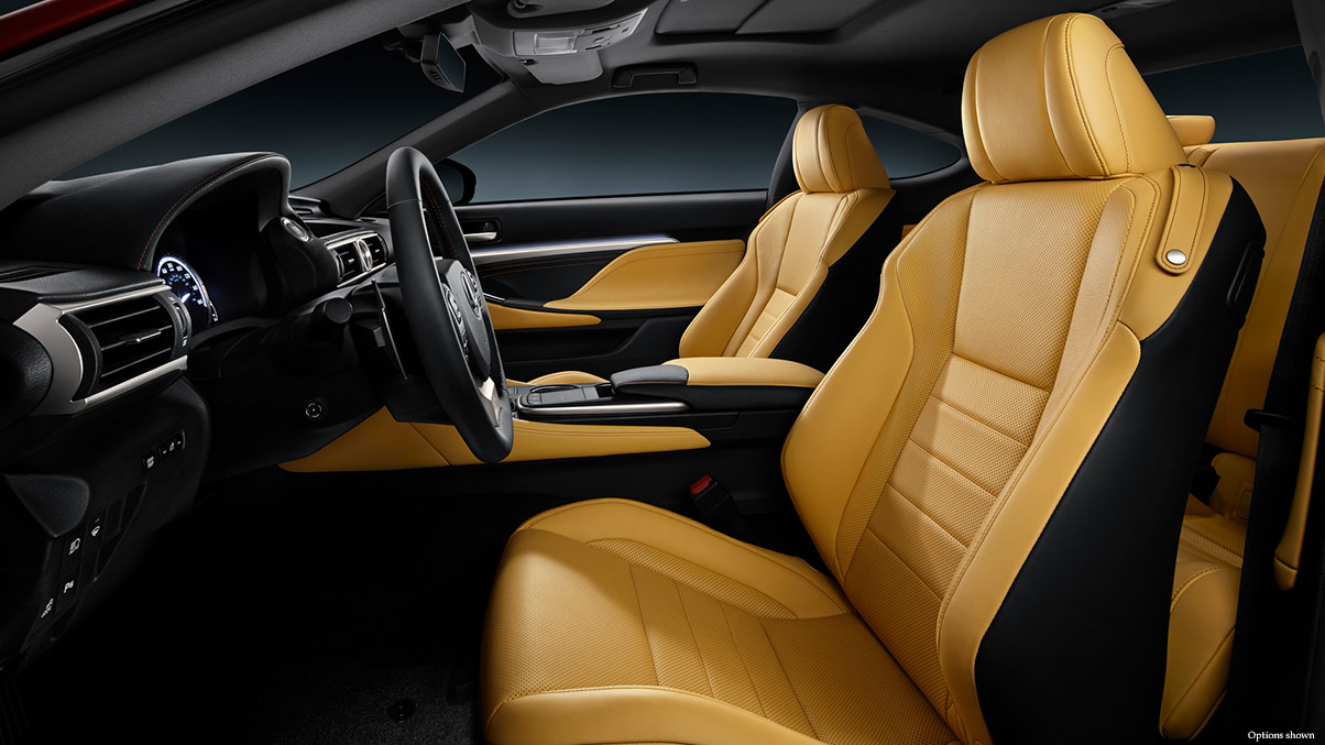 Interior shot of the 2018 Lexus RC 350 shown with Playa leather interior trim