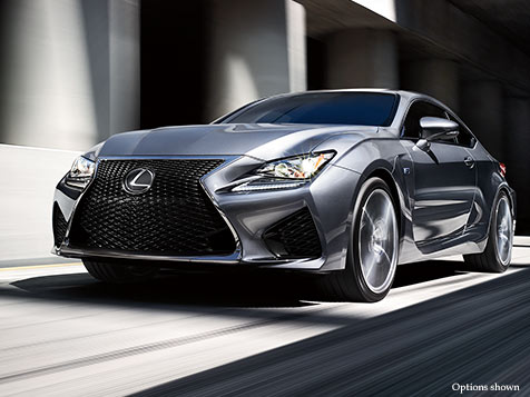 Exterior shot of the 2018 Lexus RC F shown in Nebula Gray Pearl.