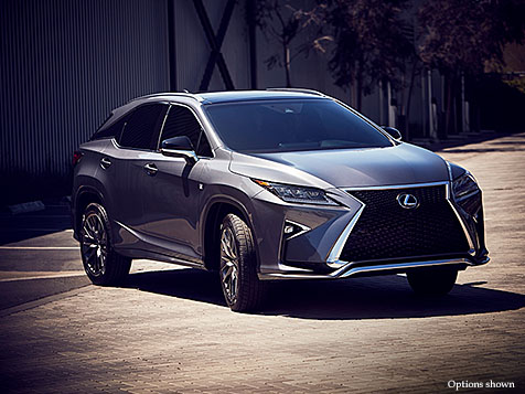Exterior shot of the 2018 Lexus RX F Sport shown in Nebula Gray Pearl.