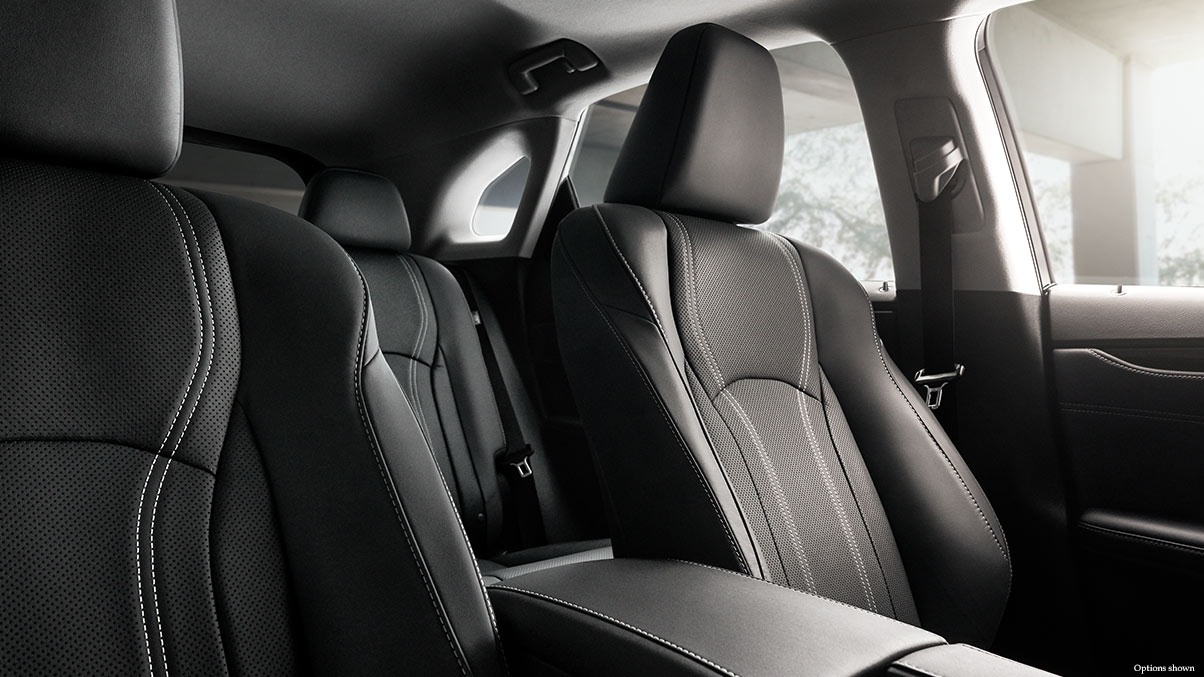 Interior shot of the 2018 Lexus RX shown with available Black leather trim