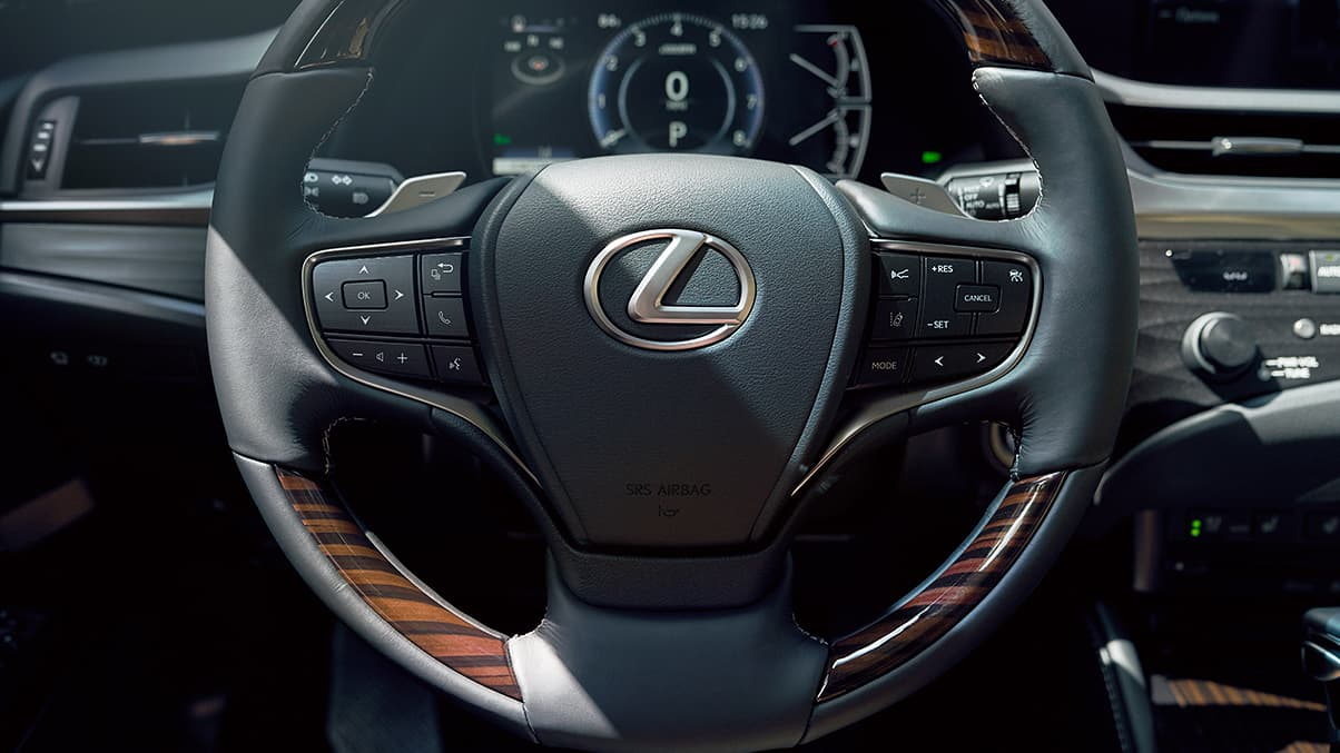 2019 Lexus ES Hybrid wood and leather-trimmed steering wheel.