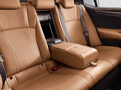 Interior shot of the 2019 Lexus ES Hybrid shown with Flaxen semi-aniline leather trim.