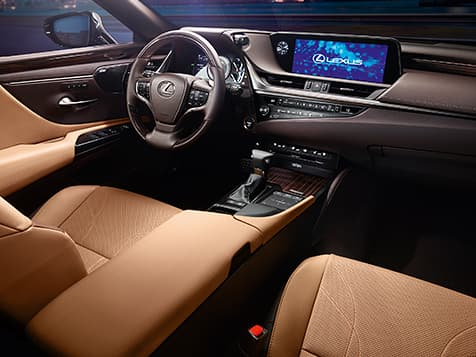 2019 Lexus ES Hybrid Ultra Luxury interior shown with Flaxen semi-aniline leather trim.