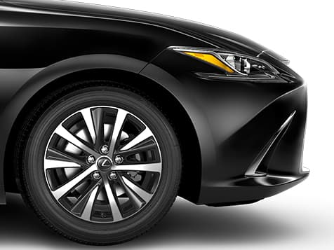 Exterior shot of the 2019 Lexus ES Hybrid shown in Obsidian.