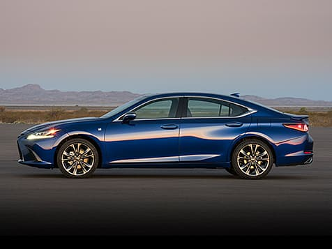 2019 Lexus ES 350 F SPORT exterior shown in Ultrasonic Blue Mica 2.0.