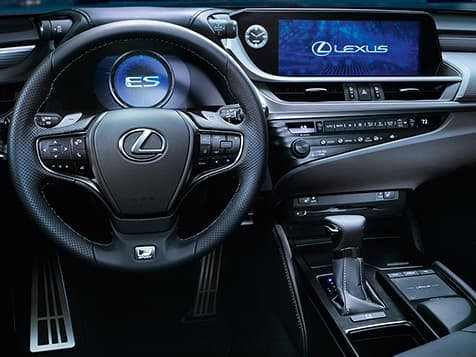 2019 Lexus ES 350 F SPORT interior shown in Black NuLuxe with Hadori Aluminum trim.