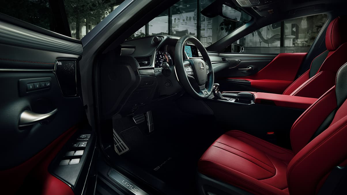2019 Lexus ES 350 F SPORT interior shown with Circuit Red NuLuxe with Hadori Aluminum trim.