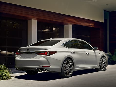 2019 Lexus ES 350 F SPORT exterior shown in Ultra White.