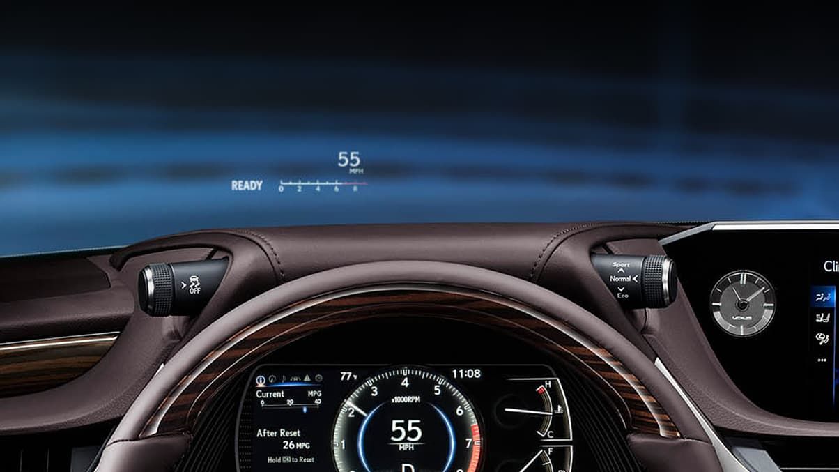 Interior shot of the 2019 Lexus ES shown with available Head-Up Display.