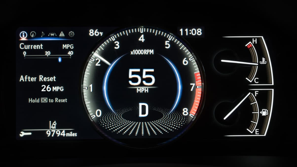 Interior shot of the 2019 Lexus ES instrument cluster.