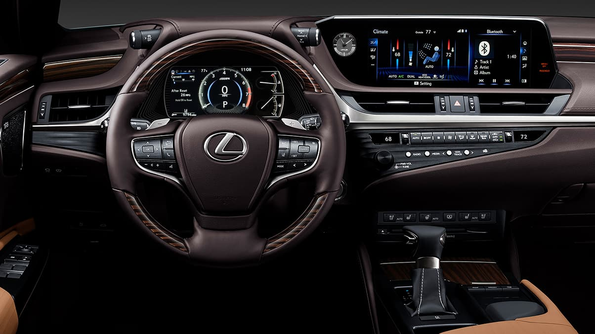 Interior shot of the 2019 Lexus ES shown with Flaxen semi-aniline leather trim.