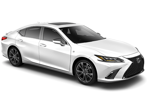 Lexus ES 350 F SPORT exterior shown in Ultra White.