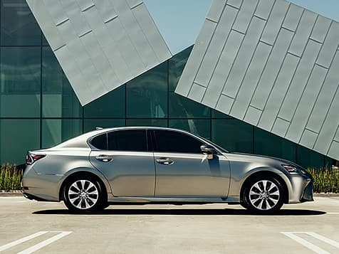Exterior shot of the 2019 Lexus GS shown in Atomic Silver