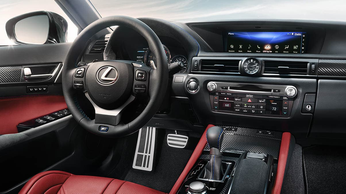 Interior shot of the 2019 Lexus GS F shown with Circuit Red leather trim.