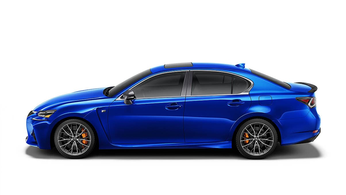Exterior shot of the 2019 Lexus GS F shown in Ultrasonic Blue Mica 2.0.