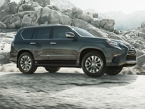 Exterior shot of the 2019 Lexus GX 460 shown in Nebula Gray Pearl.