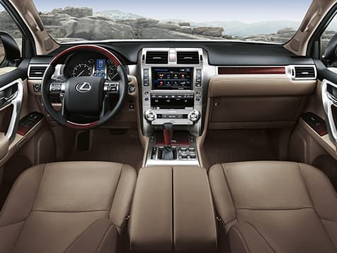 Interior shot of the 2019 Lexus GX 460 shown with Sepia leather trim.