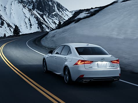 Exterior shot of the 2019 Lexus IS F Sport shown in Ultra White.