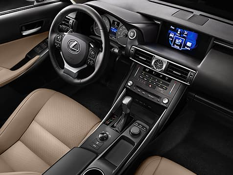 Interior shot of the 2019 Lexus IS shown with Chateau NuLuxe trim.
