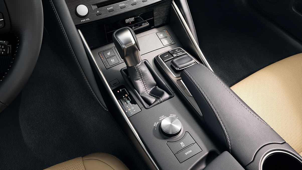 Interior of the Lexus Is showing Drive Mode Select and available Remote Touch.