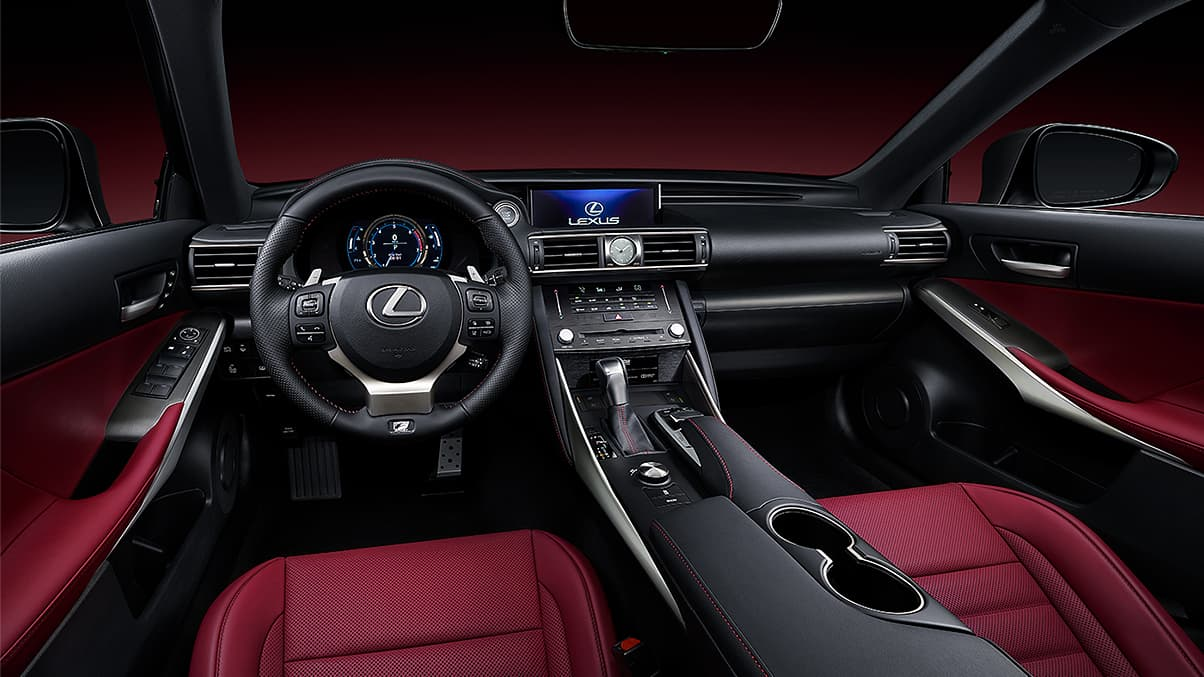 Interior shot of the 2019 Lexus IS shown with Rioja Red NuLuxe trim.