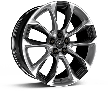 21-inch split-five-spoke forged alloy wheels with polished finish and Gloss Black accents.