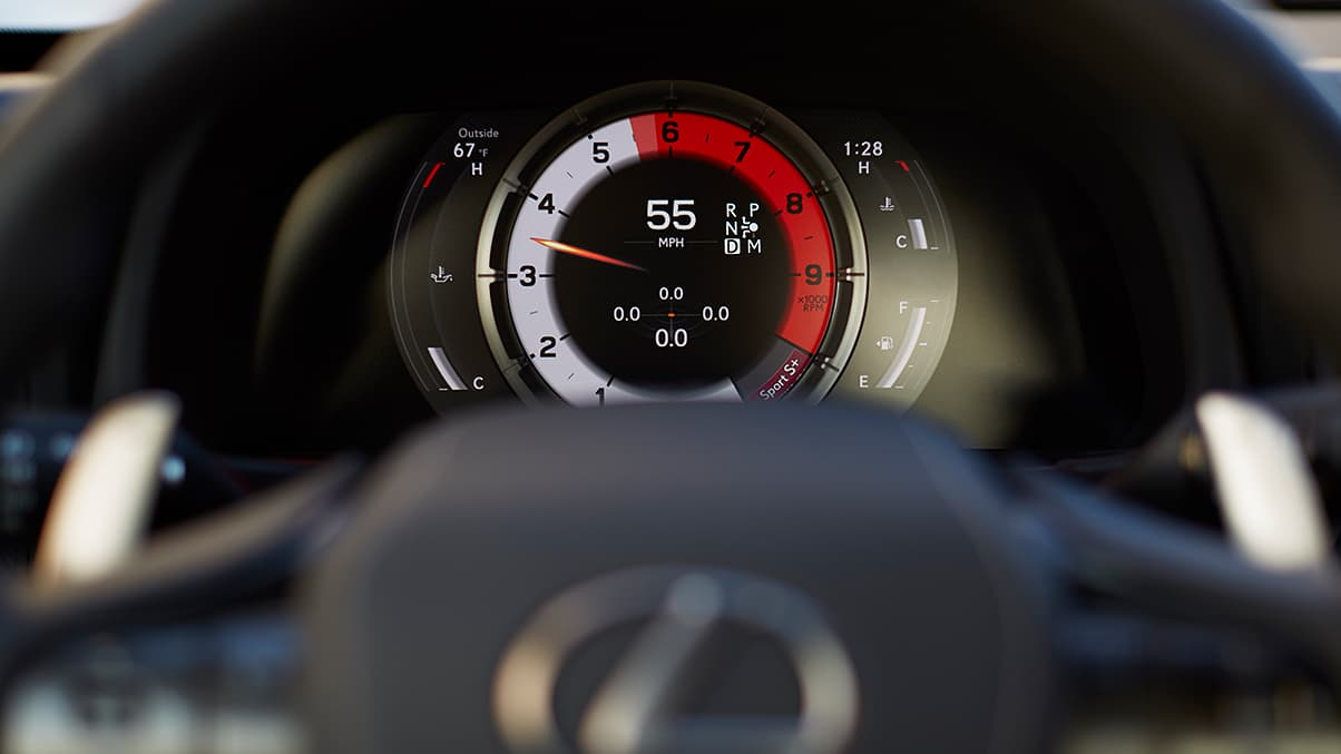 Detail shot of the LC 500 interior featuring the LFA-inspired instrumentation.