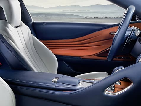 Lexus LC 500h interior shown with available Bespoke White leather trim.