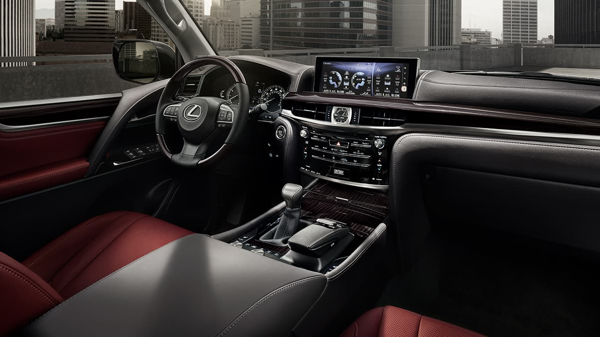 Interior shot of the 2019 Lexus LX in available Cabernet semi-aniline leather interior trim.