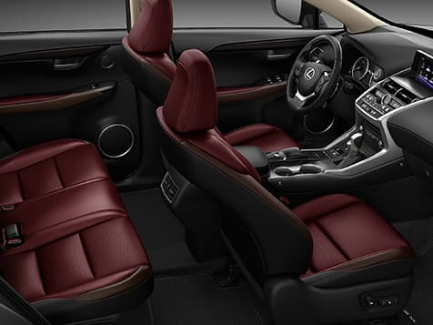 Interior shot of the 2019 Lexus NX shown with Rioja Red NuLuxe trim