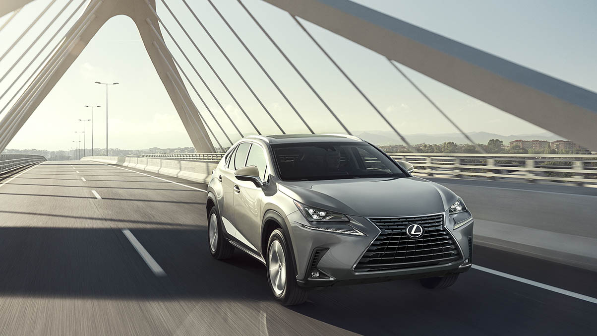 Exterior shot of the 2019 Lexus NX shown in Atomic Silver