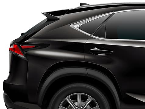 Exterior shot of the 2019 Lexus NX shown in Caviar