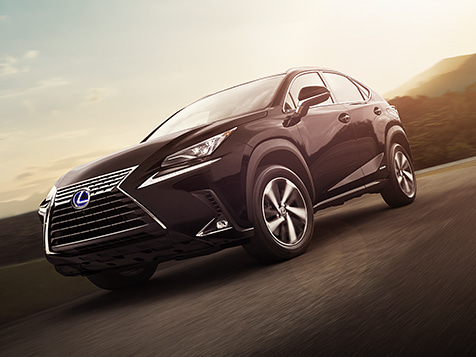 Exterior shot of the 2019 Lexus NX Hybrid shown in Caviar