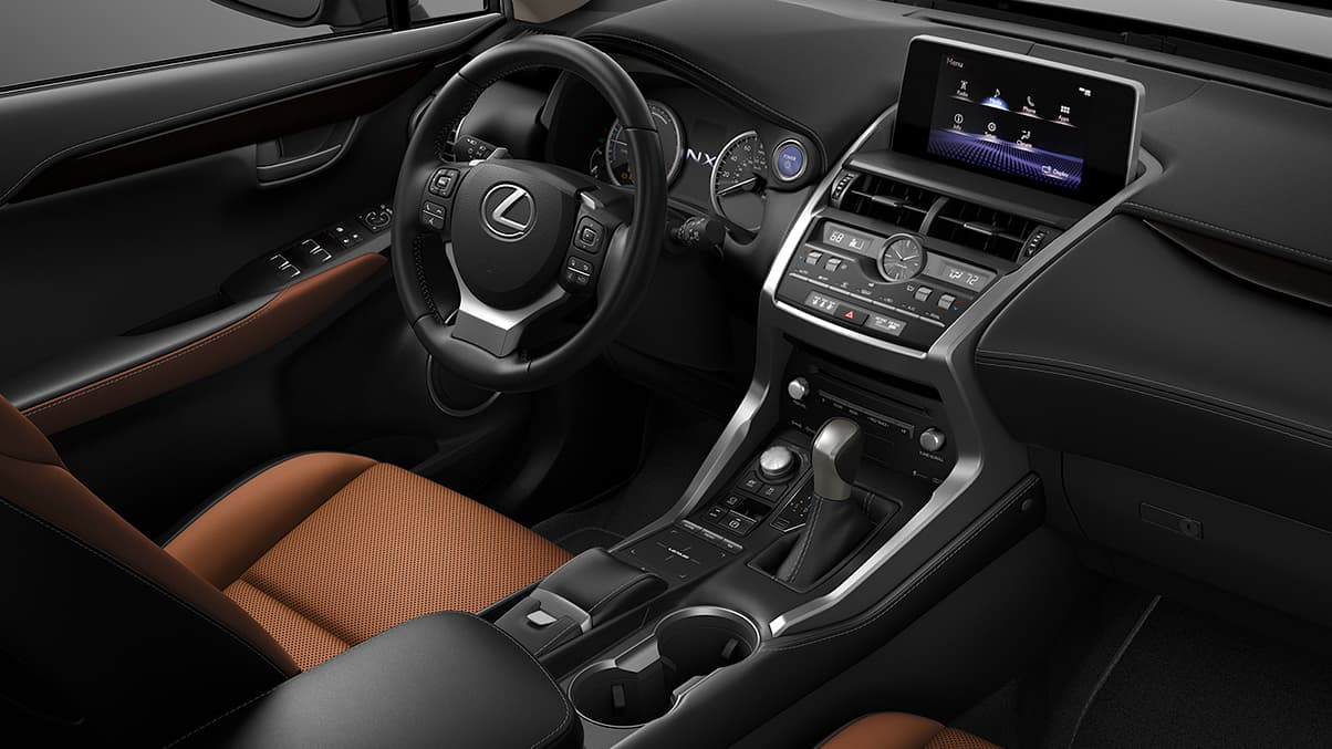 Interior shot of the 2019 Lexus NX Hybrid shown with Glazed Caramel NuLuxe trim