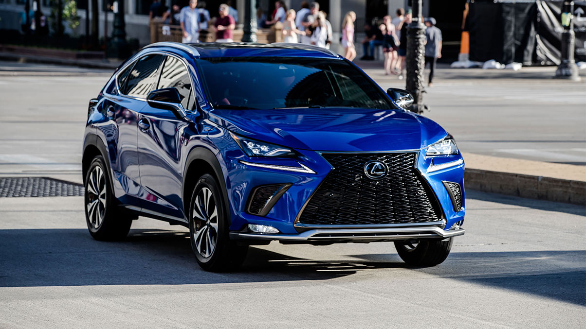 Exterior shot of the 2019 Lexus NX F SPORT shown in Ultrasonic Blue Mica 2.0