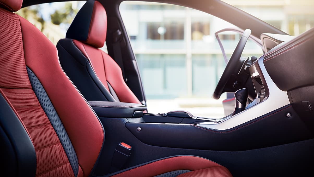 Interior shot of the 2019 Lexus NX F SPORT shown with Circuit Red NuLuxe trim