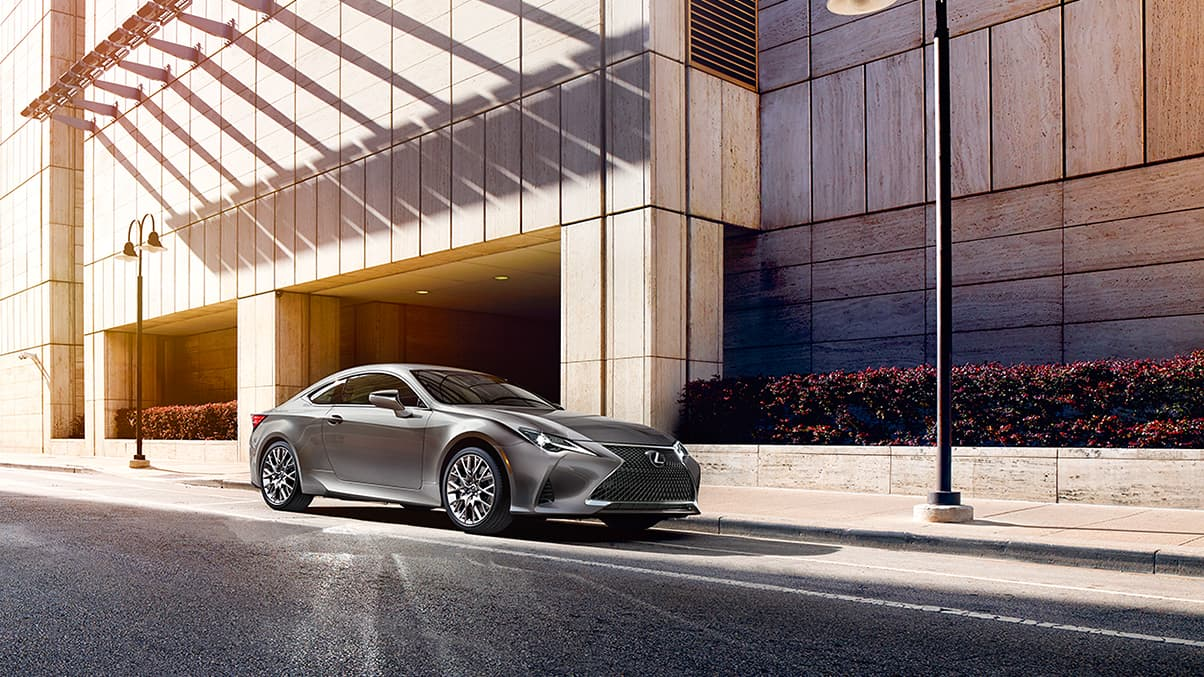 Exterior shot of the 2019 Lexus RC 350 shown in Atomic Silver