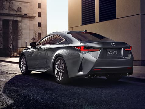 Exterior shot of the 2019 Lexus RC 350 shown in Nebula Gray Pearl.