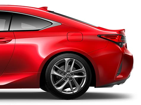 Exterior shot of the 2019 Lexus RC 350 shown in Infrared