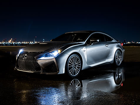 Exterior shot of the 2019 Lexus RC F shown in Nebula Gray Pearl.